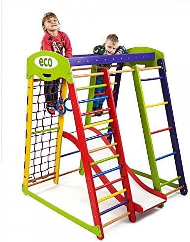 Centro de actividades con tobogán ˝Akvarelka-1˝, red de escalada, anillos, escalera sueco, campo de juego infantil, Juguetes: Amazon.es: Bebé