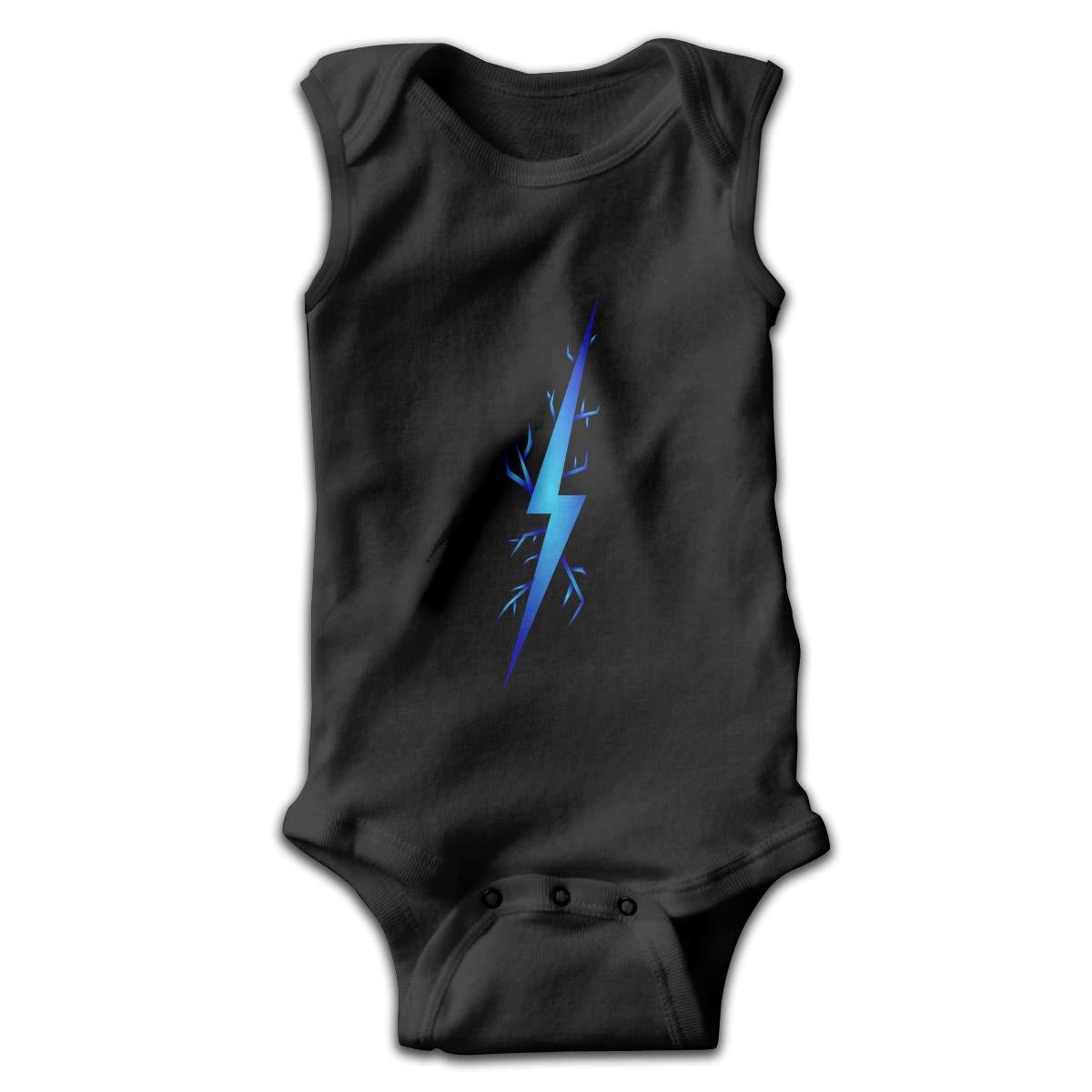 Dunpaiaa Blue Lightning Newborn Crawling Suit Sleeveless Romper Bodysuit Onesies Jumpsuit Black