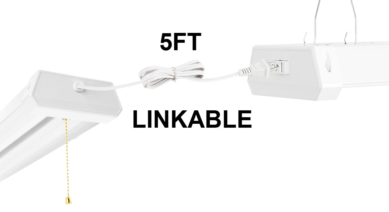 Linkable LED Shop Light 4ft 42W 5000K 4800LM Super Bright, cETLus Certified, Garage Lighting Fixture, with Pull Chain(ON/OFF) 5000K (6PK) by Thksgod (Image #2)