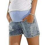 MTRNTY Women's Maternity Casual Elastic Waist Denim Shorts Light Blue Jeans, Small