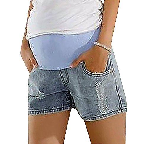 MTRNTY Women's Maternity Casual Elastic Waist Denim Shorts Light Blue Jeans, X-Large