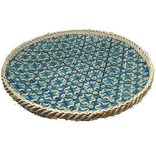 Ann Lee Design Round Decorative Serving Trays (Floral Teal Blue)