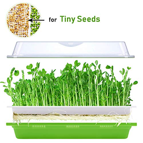 KORAM Seed Sprouter Tray BPA Free Nursery Tray for Seedlings Wheat Grass Grower Planter Hydroponics 2 Size Holes Grid Seed Germination Tray Sets with Germinating Paper for Garden Home Office (13