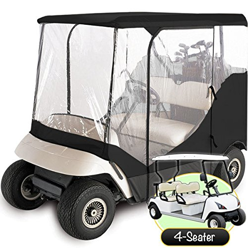 WATERPROOF SUPERIOR BLACK AND TRANSPARENT GOLF CART COVER COVERS ENCLOSURE CLUB CAR, EZGO, YAMAHA, FITS MOST FOUR-PERSON GOLF CARTS -