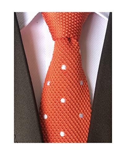 Secdtie Men Classic Autumn Woven Bright Orange Knit Tie uk Formal Cotton Necktie