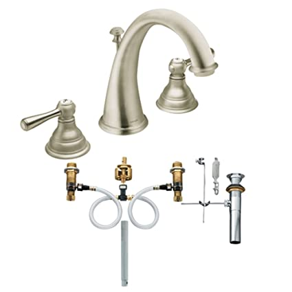 Moen T6125BN 9000 Kingsley Two Handle High Arc Bathroom Faucet With Valve,  Brushed