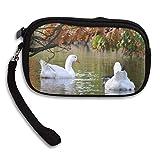 100% Polyester Multifunction Zipper Closure Insert Handbag, Water Nature Animal Pond Wildlife Swim Reflection Autumn