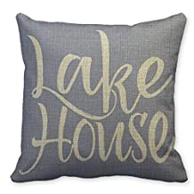 "B.R.K Throw Linen Pillowcase Cabin Blank Lake House 20"" x 20"""
