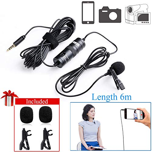 19 ft Lavalier Microphone Smartphone Vlog, BOYA by-M1 Omnidirectional Lapel Mic Condenser Recording with 3.5mm Input for Canon Nikon Sony iPhone X 8 8 Plus 7 6 6s Plus DSLR Camcorder Recorder Video