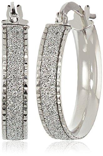14k Italian White Gold Glitter Hoop Earrings