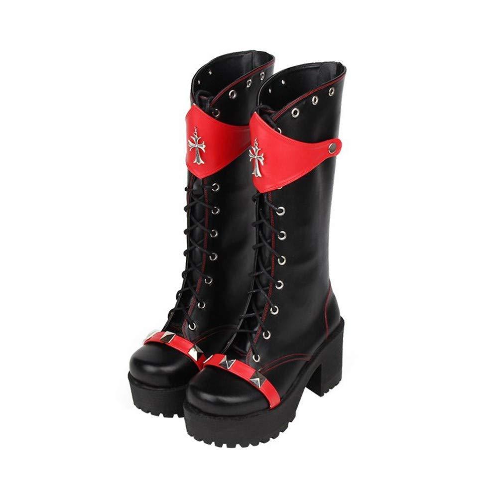 PINGXIANNV Dunkle Punk-Stil Farbabstimmung Plattform Schuhe Niet Niet Niet Hohe Stiefel Lolita Anime Stiefel 7b1739