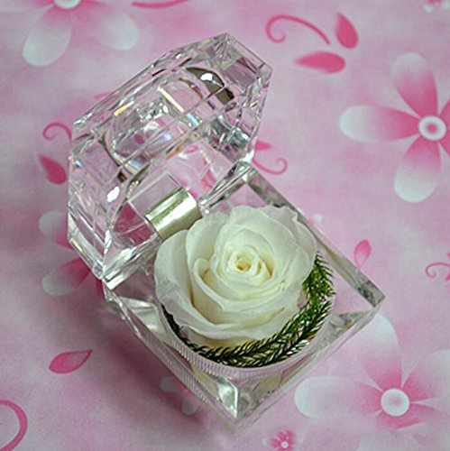 defancy handmade preserved rose with acrylic crystal ring box for proposal engagement  white