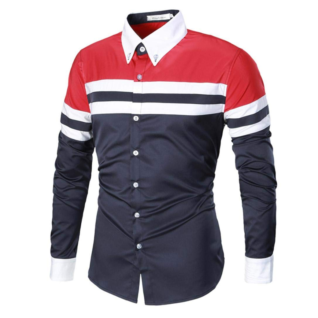 WWricotta LuckyGirls Camisa para Hombre Negocio Camisetas de Manga Larga Originales Color de Hechizo Rayas Solapa Moda Casual Slim Fit Camisas Formales