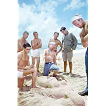 South Pacific bare chested sailors looking at sand figure 24x36 Poster
