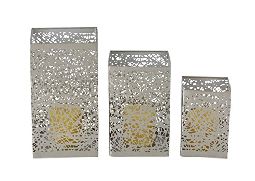 (Deco 79 57377 Spider Web Pattern Iron Candle Holders (Set of 3) 6