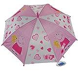 CrazyGadget Peppa Pig Pink Umbrella Automatic Easy Holding Push Button Kids Children Rainy Days Travel Accessories