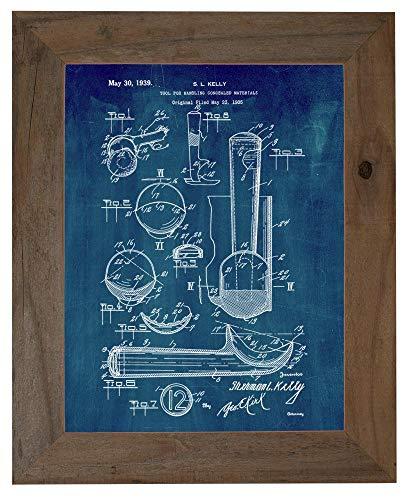 Ice Cream Scoop Patent Art Midnight Blue Print in a Barnwood Frame (5