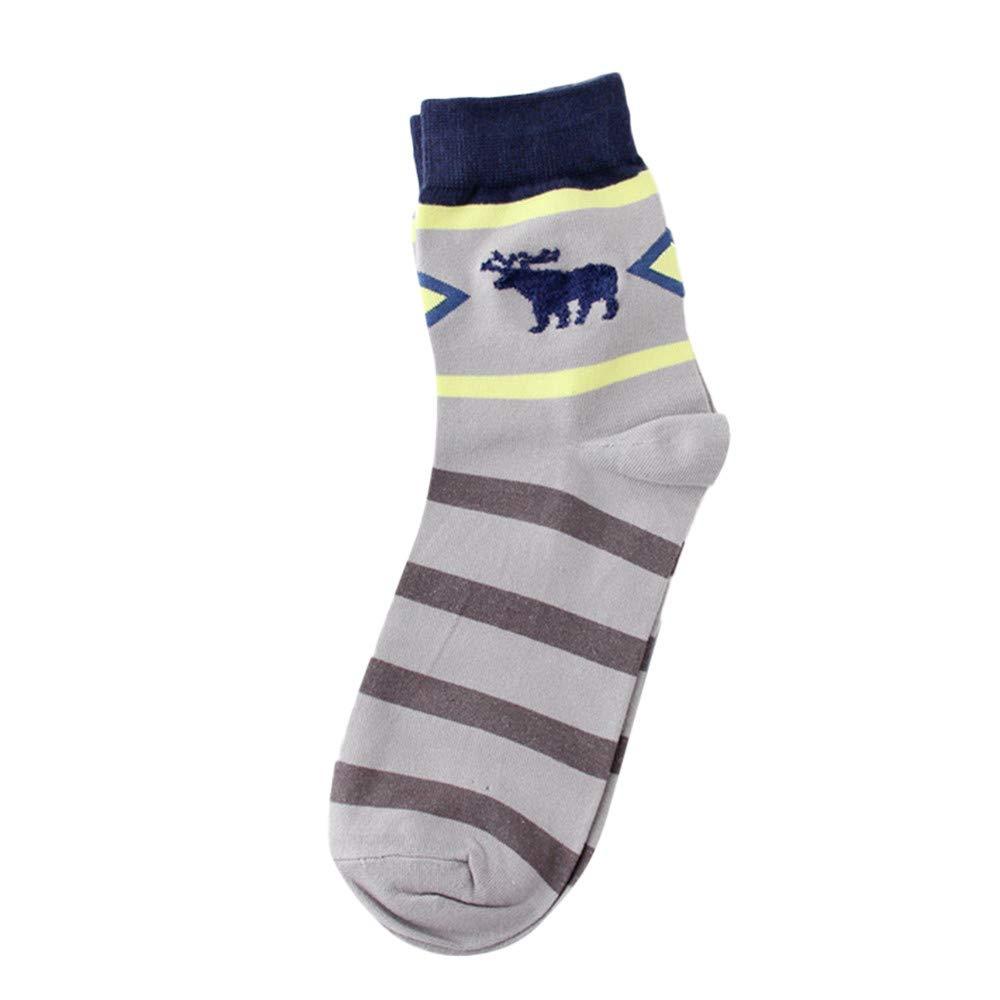 Kingspinner Womens Men Cotton Socks Elk Stripe,Sweat, Shaping, Deodorant, Anti Friction, Air Permeability (Gray)