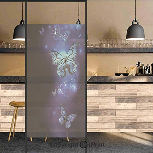 3D Decorative Privacy Window Films,Fantasy Magical Butterflies Monarch Artistic Morpho Inspiration,No-Glue Self Static Cling Glass Film for Home Bedroom Bathroom Kitchen Office 17.5x71 Inch
