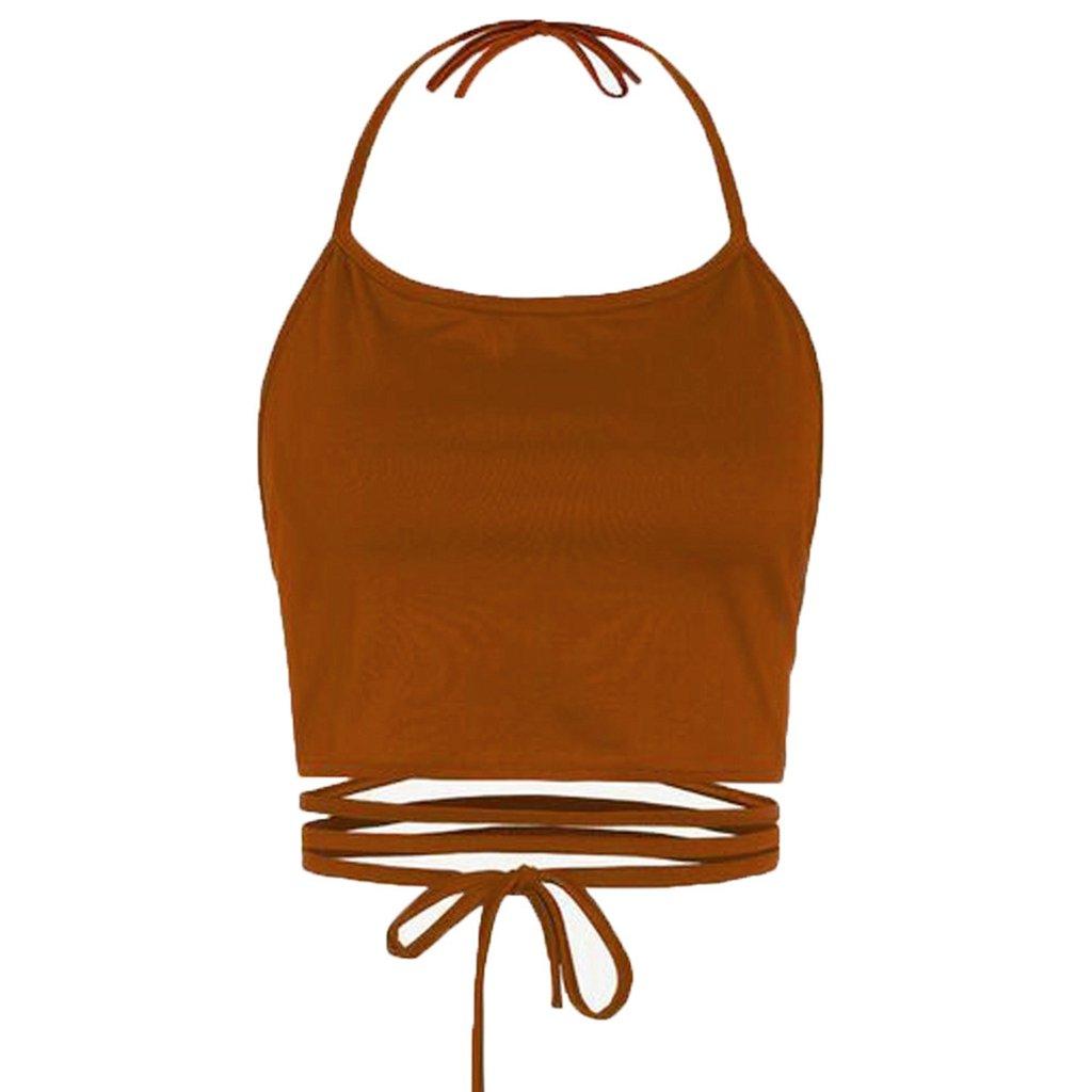 Sale Camisole chaofanjiancai Women Halter Plain Tank Tops Sleeveless Short Vest Casual Summer Blouse (Free, Khaki)