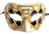 Men's Masquerade Mask Musical Checked Venetian Halloween Mardi Gras Party Mask (Checkered Gold)