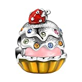 SOUFEEL Strawberry Cake Charms 925 Sterling Silver Charm Multicolor Fruit Bead for Bracelets