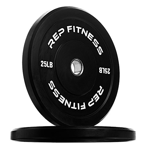 Rep Bumper Plates for Strength and Conditioning Workouts and Weightlifting 25 lb Pair