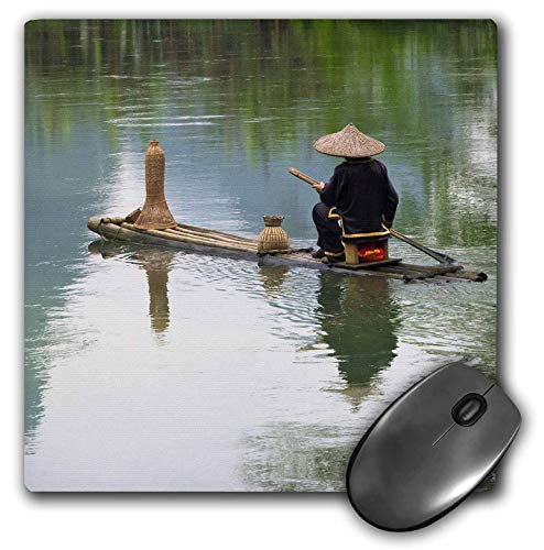 3dRose Danita Delimont - China - Fisherman on Bamboo raft on Mingshi River, Guangxi Province, China - Mousepad (mp_312677_1)