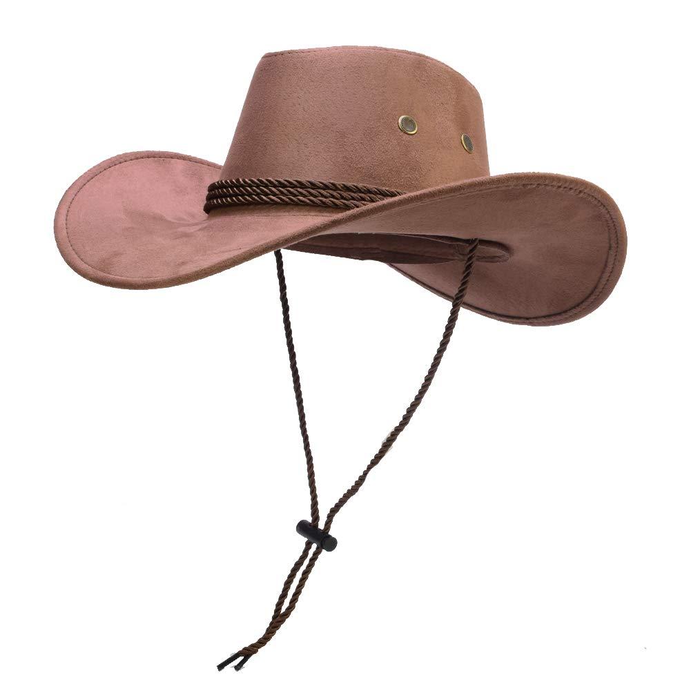 Faux Felt Wide Brim Cowboy Hat Crushable Outback Hat Fedora Hats with Silk Scarf