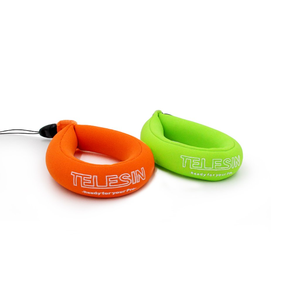 TELESIN Waterproof Floating Foam Wrist Strap for Digital and Action Cameras Yellow /& Green 2 Pack