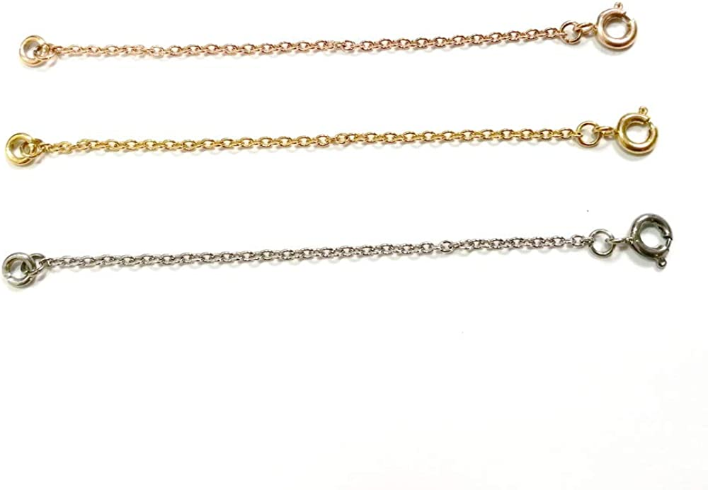 Gold Silver Rosegold Aweisile Chain Extension 15 Pieces Necklace Extender Stainless Steel Necklace Extension Chain Bracelet Extender Chain Jewelry Extender Chain for Jewellery Making 5 Sizes
