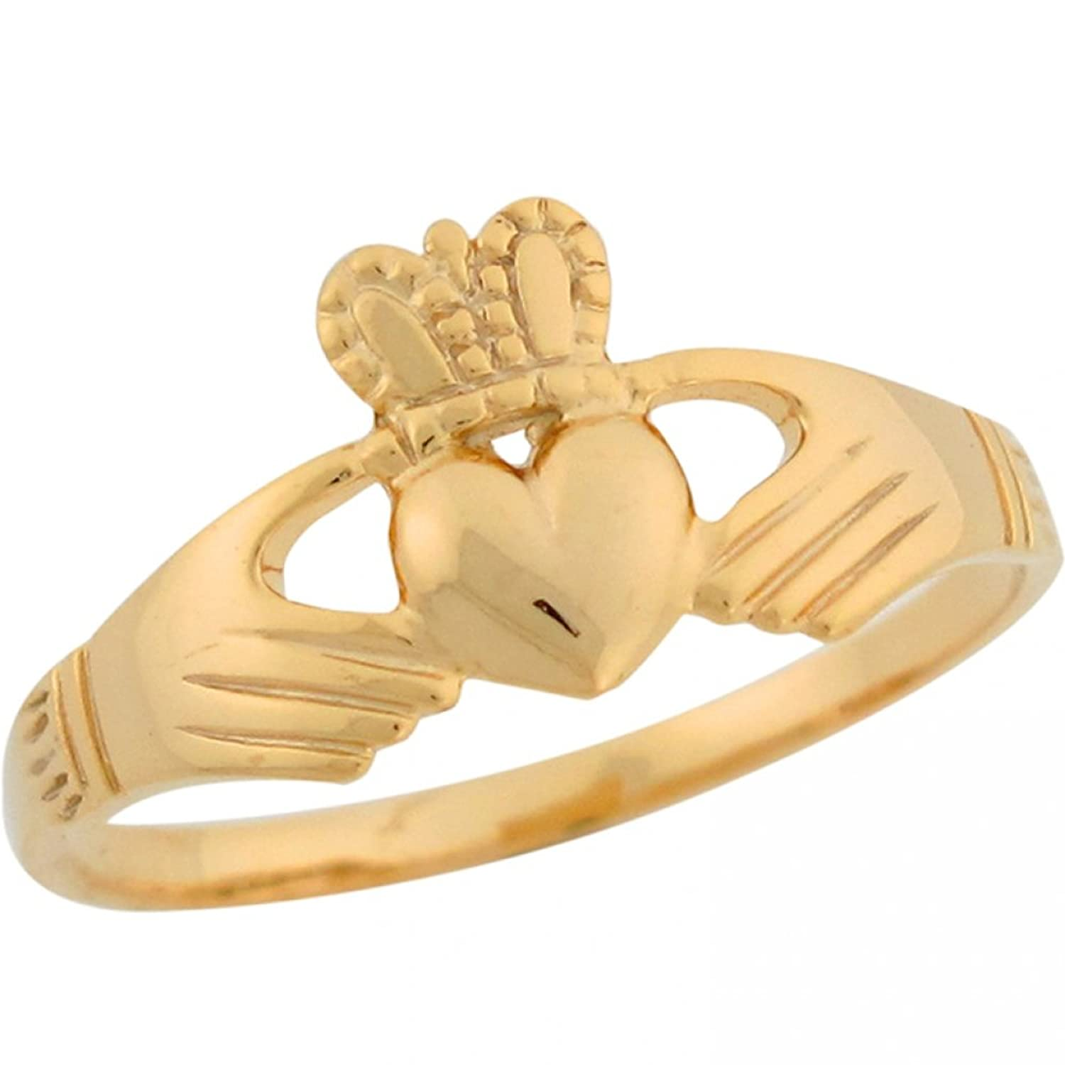 10k Yellow Gold Claddagh Designer Inspired Special Ladies Ring