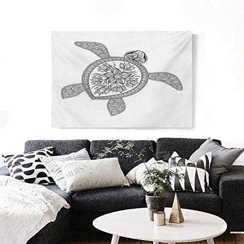 Wall Art Artistic Turtle Figure Henna Mehndi Tattoo Style Doodles Floral Ornaments Asian Artwork for Wall Decor 20