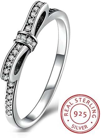 Enjoit 925 Sterling Silver Rings Bow Cubic Zirconia Ring For Women &Girl Jewelry