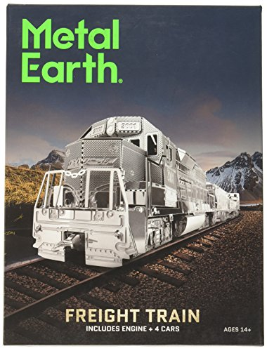 Fascinations Metal Earth Freight Train Box Gift Set 3D Metal Model Kit, Silver