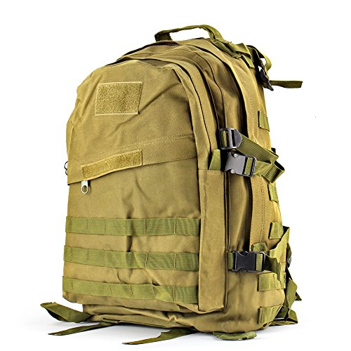 Flexzion Military Tactical Backpack (Green) Outdoor Camping Hiking Hunt Trekking Assault Rucksack Travel Molle Daypack Bag Expandable Waterproof 40L Capacity