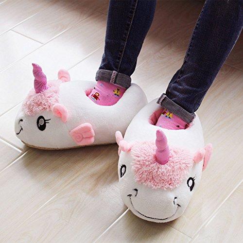 KiKa Monkey Zapatillas de felpa unicornio deslizamiento en los zapatos con tamaño europeo: 36-42 blanco