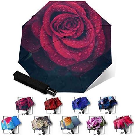 Zxebhsm Paraplu Volledige Automatische Draagbare Vouwen Regenachtige Paraplu Vrouwen Mannen Winddicht Parapluie Bloemen Bloem Afdrukken Parapluie (Kleur: YSC1011)