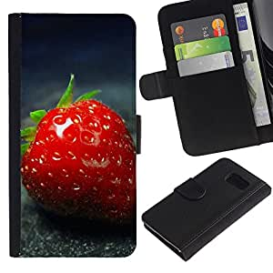 Planetar® Modelo colorido cuero carpeta tirón caso cubierta piel Holster Funda protección Para Samsung Galaxy S6 / SM-G920 ( Strawberry )