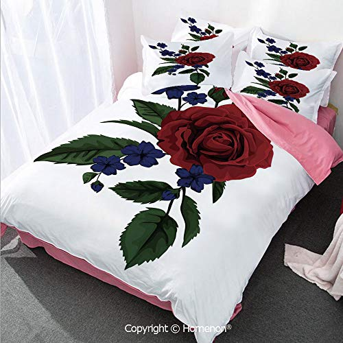 Striped Ruby Leaf - Rose Girl's Room Cover Set Full Size,Rosebud with Little Blossoms Leaves Love and Passion Theme A,Decorative 3 Piece Bedding Set with 2 Pillow Shams Ruby Violet Blue Hunter Green