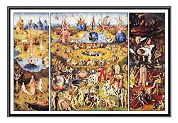 Bosch Garden Of Earthly Delights Framed Print Black Metal Frame 36 X 24  Inches
