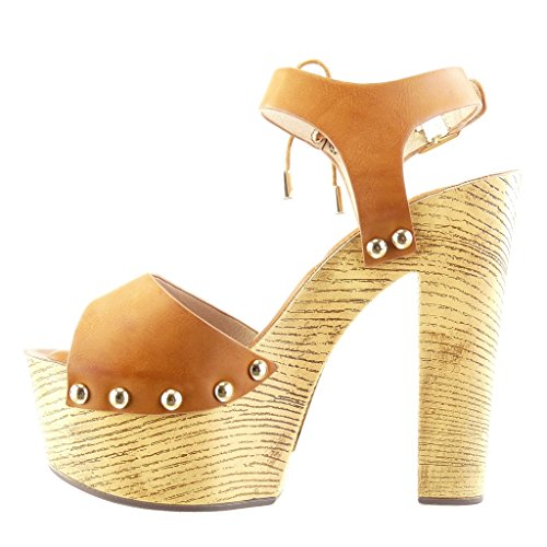 Angkorly - Chaussure Mode Sandale Mule plateforme femme clouté métallique bois Talon haut bloc 14 CM - Camel