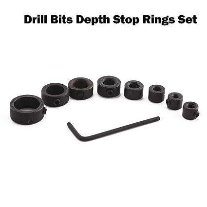 Gemini/_mall/® 8Pcs 3-16mm Dia Woodworking Drill Bit Depth Stop Collars Ring Positioner Locator Durable
