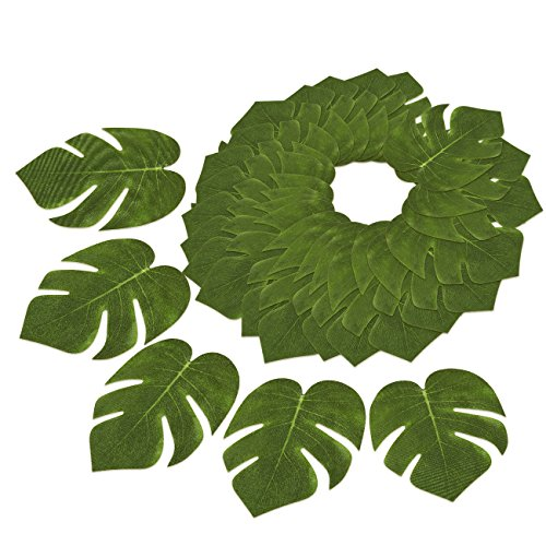 60-Pack Tropical Palm Leaf - Summer Luau Party Decorations, Wedding Tropical Themed Decor, Safari Plant Leaves, Green - 6.7 x 8 Inches (Fake Small Tree Palm)