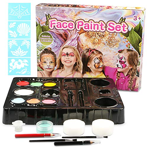 Face Paint Kit for Kids, Professional Non-Toxic Face Painting Palette With 4 Stencils 8 colors 1 Flash Gel 2 Brushes 2 Makeup Sponges and A Color Blending Manual for Parties Halloween Christmas Makeup ()