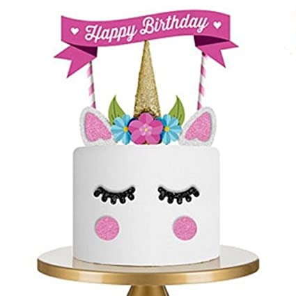 Cool Cake Toppers Buycheapdg Cute Unicorn Themed Flag Eyes Ear Funny Birthday Cards Online Alyptdamsfinfo