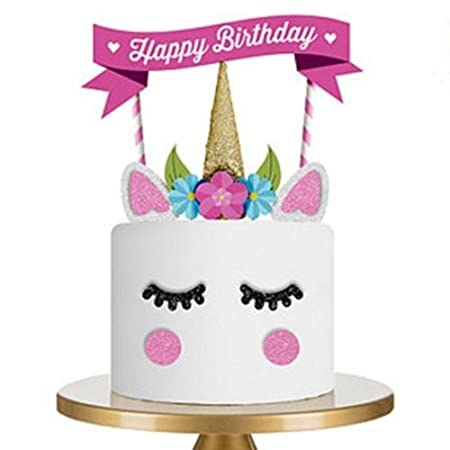 Cake Toppers BuycheapDG Cute Unicorn Themed Flag Eyes Ear Birthday Kids Baby Boy Girls Topper Party Decoration Amazoncouk Kitchen Home