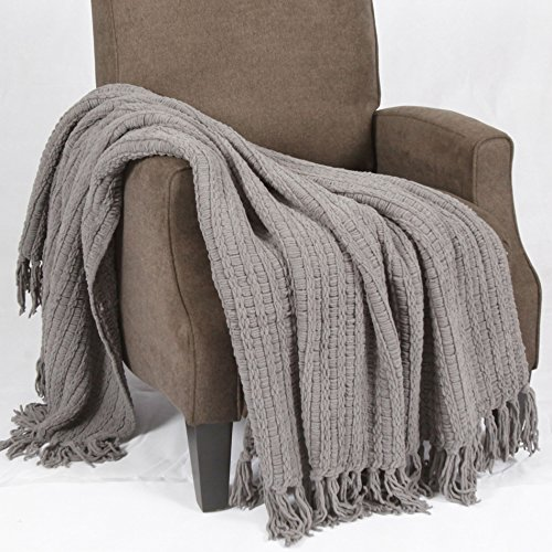 """BOON Space Yarn Knitted Throw Couch Cover Sofa Blanket, 50"""" x 60"""", Charcoal Grey"""