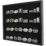Display Case Wall Cabinet Shadow Box for Belt Buckle Collection, BC02-BL