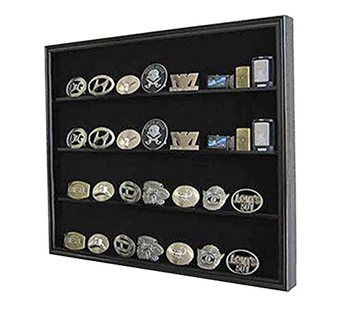 Display Case Wall Cabinet Shadow Box for Belt Buckle Collection, BC02-BL (Black) - Marathon Cabinet Hinges